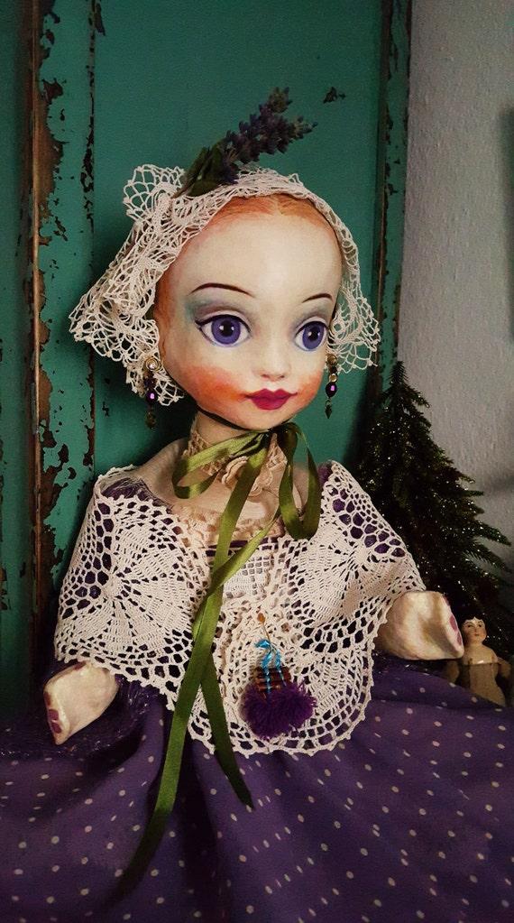 Miss Lavender Dream - papier mache -  sculpture / art doll -  ooak
