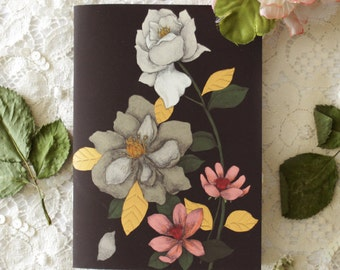 Notebook - Illustrated notebook - A6 - floral - botanical - Bouquet 01