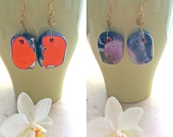 Abstract Art Polymer Earrings - Two sided , Boho , Art , Creativity Empowering