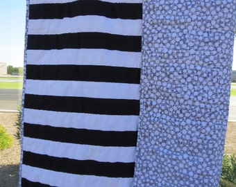 Black and White Stripe Gender Neutral Quilt Baby Nursery Gift Crib Naptime Gray