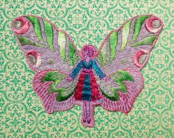 Vintage 1920s 1930s Sew On Fabric Applique Dress Trim Butterfly Wings Girl Fairy 20s 30s Art Deco Applique green pink lilac turquoise