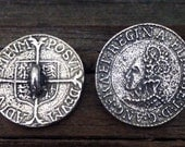 Elizabethan Shilling Coin Pewter Shank Buttons 1 Inch (25 mm)