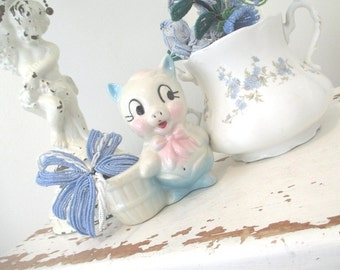 Vintage Pig Planter * Pink * Blue * Piggy * TOO CUTE!