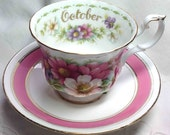 October Teacup Royal Albert China - Mismatched Tea Cup & Saucer - Cosmos Pink and White Flowers - Bone China - England - Retro Traditional