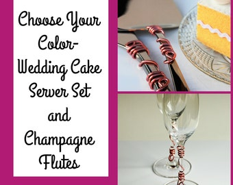 Custom wedding cake server set champagne flutes rose gold choose your color wedding table decor bridal shower birthday party anniversary