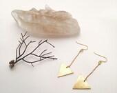 Minimalist Brass Arrow Drop Earrings || Triangle Brass Earrings ||  Brass Jewelry || Minimalist Jewelry || Brass Chandelier Earrings