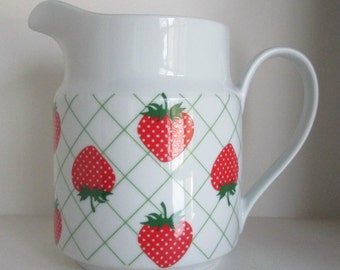 Vintage Strawberry Strawberries Pitcher