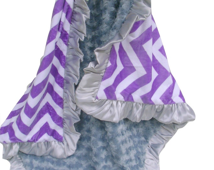 Purple Chevron and Charcoal Gray Rose Swirl Minky Baby Blanket - available in three sizesCan Be Personalized