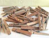 Antique Vintage Wooden Clothespins 28 Wood Clothes Pins 2 Dozen