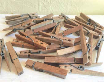 Antique Vintage Wooden Clothespins 28 Wood Clothes Pins 2 Dozen