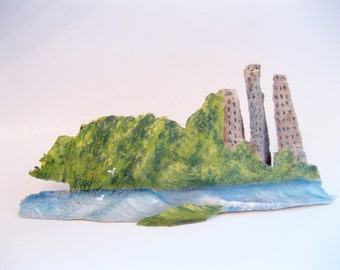 Painted Wood, City Skyline, New York City, Carved Wood, Ash Wood, Decor, by gardenstones on etsy