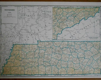 Vintage State map of Tennessee, Original 1930s old atlas map