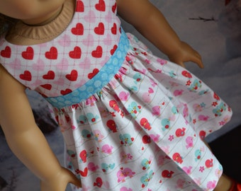18 inch Doll Clothes - Love Birds Colorblock Dress - AQUA PINK WHITE - Valentine's Day - Tweet Hearts - Love Letters - fits American Girl