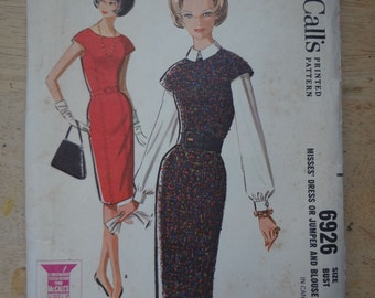 Vintage 1960s Dress and Blouse Sewing Pattern, McCalls 6926, bust 34