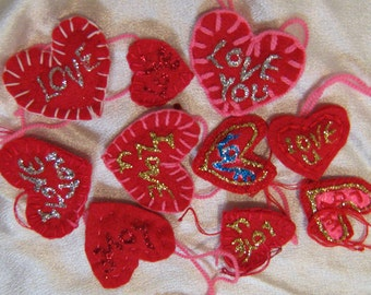 Hand made felt hearts, Valentine hearts, ten heart accents, love for sale, geekery