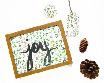Boxed Christmas Cards - Holly Christmas Card - Watercolor Christmas Cards - Christmas Cards Boxed Set - Red & Green Christmas - Joy Greeting