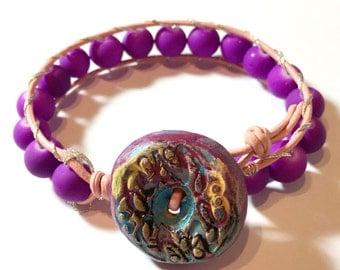Single Wrap Bracelet, Beaded Leather Bracelet, Artisan Boho cuff purple czech pearls beads, Bohemian Bracelet