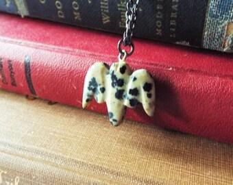 Carved Bat Pendant Necklace Black and White Dalmatian Jasper