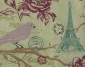 Paris Bird Fabric Print Paris Fabric French Fabric Eiffel Tower Fabric Floral Fabric Romantic Fabric France Fabric BTY By The Yard