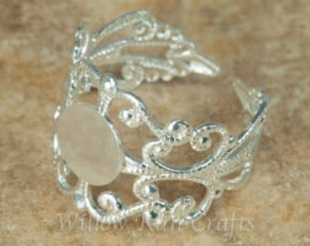 10 Silver Filigree Rings Adjustable with 10 mm glue pad  (07-42-770) Ring Setting