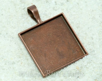 50 pcs 25mm Copper Square Pendant Trays with Glas Cabochons, 1 inch square bezels with smooth back (12-12-220), Blank Bezel Cabochon Setting