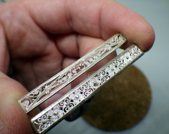 Pair of Silver Filigree Bar Pins - 1950s.  - White Silver