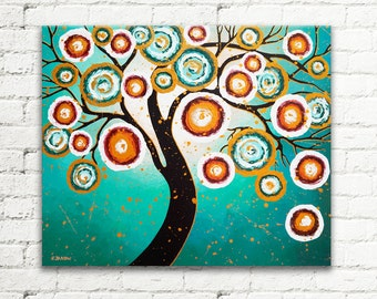 Tree of Life Wall Art, Gold Turquoise Painting Canvas Art, Living Room Decor, Modern Art Home Decor 20x24