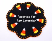 """Reserved for Pam Levernier - 8"""" Halloween Candy Corn Penny Rug"""