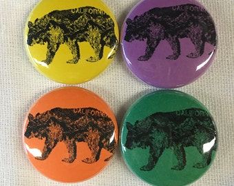 CALifornia BEAR Magnet or Pinback Button 1""