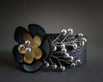40% OFF SALE Leather floral cuff bracelet Statement jewelry  Elegant wristband