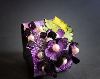50% OFF SALE Purple  leather and pearls floral wide cuff bracelet Statement jewelry  Flowers