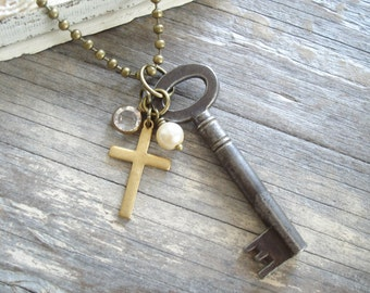 Antique Key Necklace. Vintage Skeleton Key Necklace. Pearl, Crystal & Brass Cross Necklace. Beaded Boho Necklace. Rustic Eco Friendly Gift.