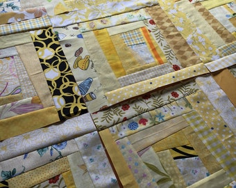 Crazy Quilt Block - 11 inch square - shades of yellow