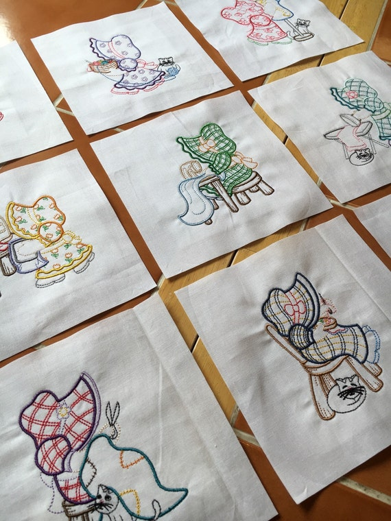Embroidery Patterns For Quilt Squares : 9 Sunbonnet Sue Sews Embroidered quilt blocks ready to sew