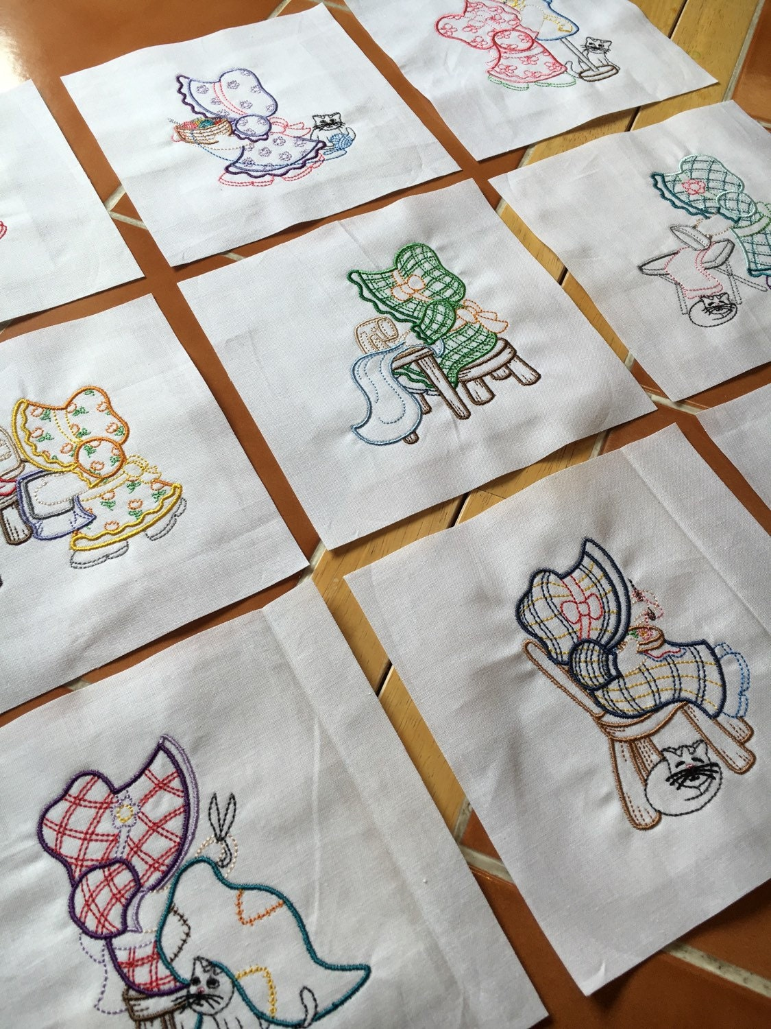 Sunbonnet sue sews embroidered quilt blocks ready to sew