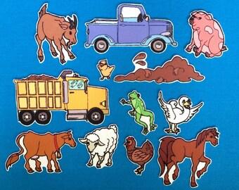 Little Blue Truck Felt Board Set / Flannel Board Set /  Storytelling w animals and trucks