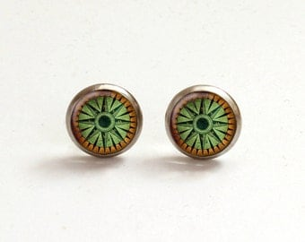 Vintage Compass Post Earrings, Green Stud Earrings, Green Brown posts, Compass studs, Hypoallergenic Earrings, Steel Posts, Steel Studs