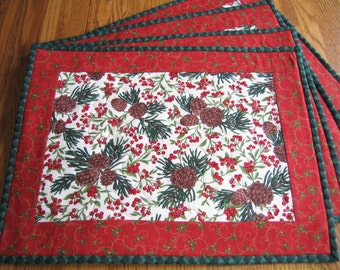 Quilted Placemats with Pinecones and Red Berries - Set of 4