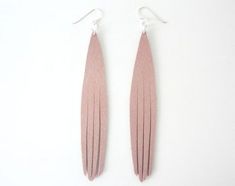 Leather Peacock Lash Earrings - Blush Pink with Sterling Silver