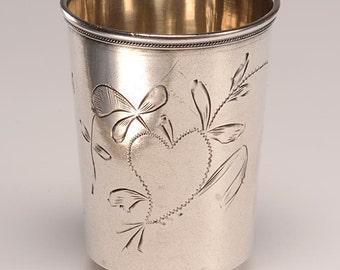 Pre-Glasnost Russian Silver (84) Vodka Glass:  Hallmarked, Fine condition c.1898