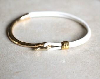 White leather bracelet, Gold bracelet white leather, Gold half cuff bracelet, Gold clasp, White leather cuff bracelet, Leather cord cuff