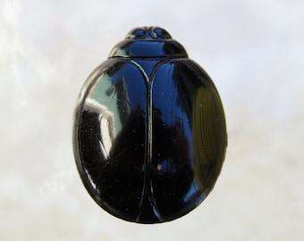 28x22mm 2 Hole Opaque Black Egyptian Scarab Czech Glass Focal Bead (BS375)