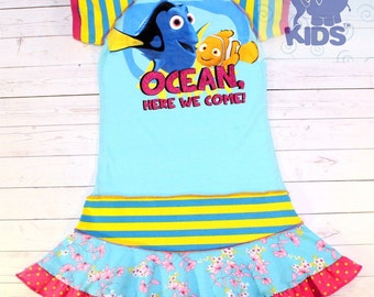 Ocean, here we come - a dress made out of authentic FINDING DORY  tshirt super cool funky recycled upcycled  pieced  size 8