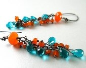 BIGGEST SALE EVER Teal Blue Quartz and Carnelian Wire Wrapped Earrings