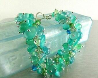 20 % Off Gemstone Cluster Bracelet, Green Onyx, Apatite, Green Amethyst and Quartz Cluster Sterling Silver Bracelet