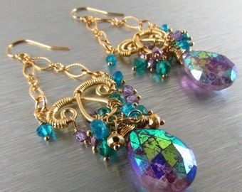 BIGGEST SALE EVER Mystic Amethyst, Purple Zircon and Teal Quartz Chandelier Earrings, Exotic, Boho