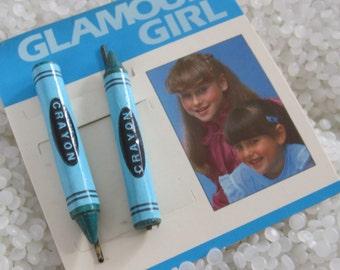 Vintage barrettes,  blue crayons, vintage bobby pins