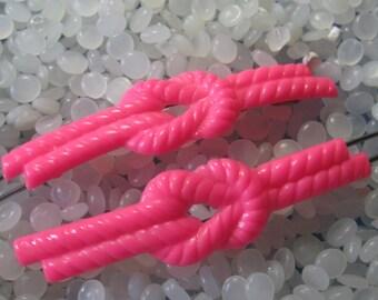 vintage barrette, Plastic  bright pink twist knot, rare pair