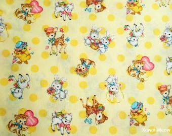 Japanese Fabric - QUILT GATE - Dear Little World - Cute Animals on Yellow - Fat Quaretr (ha160804)