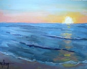 """Impressionist Small Acrylic Seascape with Sunrise, 6x8"""" Acrylic Painting, blue, coral"""